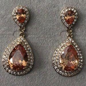 Gold w/Rhinestone Double Peach Teardrop Earrings